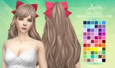 Moon Craters Minako Accessory Bow - Recolor Accessory bow for the Minako hair. :> • 66 Colors • Standalone & Custom Thumbnails • Teen to Elder • Mesh by @moon-craters not included, get it *HERE*...