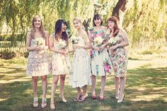 Floral Mismatched Bridesmaid Dresses