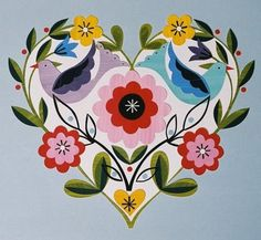 Design by Ellen Giggenbach. Individual elements in this design are cut from coloured paper. At print & pattern.