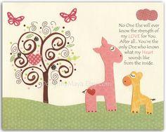 Giraffe Nursery wall art print,  Use verse instead of quote.