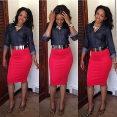 Great look for the office the skirt is adorable great length & nice lines the blouse is the perfect complement