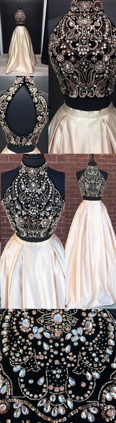 2018 Beading Two Pieces Sparkly Open Back Halt Prom Dresses, Popular Fashion Prom Dress for party, PD0372 #charmingdressy#promdresses#popular #kfashion,