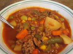 Grandma's Hamburger Soup. So easy and SO yummy :) can easily be modified for Paleo too