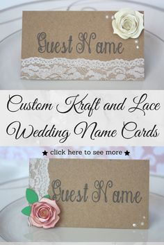 Affordable custom kraft cardstock name cards with heat embossed stamped lace, pearls, and gorgeous cardstock roses. Your guest's names written on one side and table number on the back!  Check it out in Etsy!