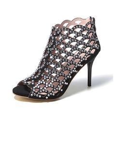 Zapatos Salón Encaje Tacones Botas al tobillo Tacón stilettos Piel (1054628) @ floryday.com