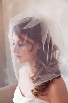 "Tulle Veil, Bridal Illusion, Birdcage Veil, Blusher Veil, Bird Cage Wedding Veil, White, Ivory Tulle Bird Cage Veil  - 18"" - Made to Order"
