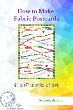Fabric postcards are a super way to express your creativity and yes they can be mailed! Get out your scraps specialty fabrics and embellishments and challenge yourself to explore new techniques in creating 4 x 6 works of art. Fabric Postcards, Fabric Cards, Small Quilts, Mini Quilts, Quilting Tips, Quilting Projects, Art Quilting, Quilting Fabric, Baby Blocks