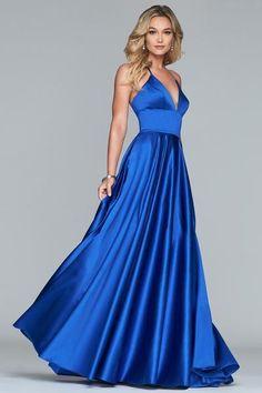 Faviana - Sleeveless V-neck Satin Ballgown Tulle Ball Gown, Satin Gown, Ball Gowns, Bridesmaid Dresses Long Blue, Royal Blue Dresses, Designer Dresses, Empire Silhouette, Classy Style, Simple