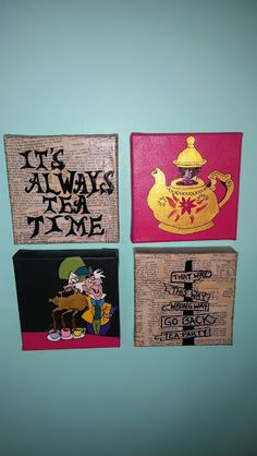 Alice in Wonderland tea party painting mixed media on four 6x6 canvases
