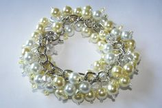 Yellow and White Pearl Cluster Bracelet by SeagullSmithJewelry, $27.00