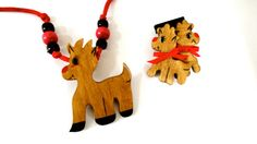 Handpainted Wooden Reindeer Necklace and by SucresDaintyDish