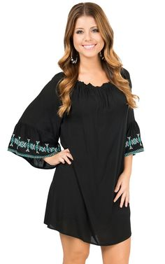 Umgee Women's Black with Turquoise Embroidered Bell Sleeves Dress | Cavender's