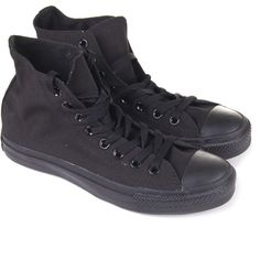 CONVERSE Black A-S Hi All Black Canvass ($64) ❤ liked on Polyvore featuring shoes, sneakers, converse, black, converse shoes, converse footwear, black trainers, converse sneakers and kohl shoes