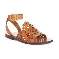 Chloe Cut Out Sandals ($755) ❤ liked on Polyvore featuring shoes, sandals, cognac leather, laser cut out sandals, leather ankle wrap sandals, ankle wrap sandals, leather ankle strap sandals and cognac leather sandals