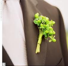 The boutonnieres will be billy balls and green hypericum berries wrapped with green lily grass and french ribbon.