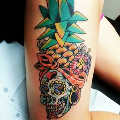 This is my pineapple sigar skull tattoo.  #pineapple #sugarskull #tattoo #pineapplesugarskulltattoo @jnoww