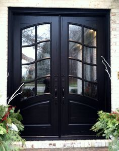 Double Front Entry Doors - French Swag Panel Design - Finished in Rustic Distressed Ebony. 678-894-1450 www.masterpiecedoors.com