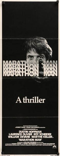 """Marathon Man (1976) Vintage Insert Movie Poster - 14"""" x 36""""  A rare, vintage insert movie poster from 1976 for Marathon Man starring Dustin Hoffman, Laurence Olivier, Roy Scheider, William Devane and Marthe Keller.  John Schlesinger directed the classic thriller.   The 40-year-old poster measures 14""""x36"""" and is in very good condition. Free US Shipping!"""