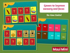 Maui Mini App - Memory card games are great for improving concentration and memory skills. Great games for Preschoolers