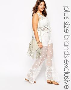 I don't *think* I would wear them, but I kinda love them. Alice & You Embroidered Lace Wide Leg Palazzo Pant