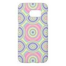 Pink Purple Turquoise Pastel Retro Circles Pattern Samsung Galaxy S7 Case