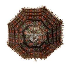 Indian Artistic Hand Crafted Zari Embroidered Cotton Umbrella For Christmas Gift #Handmade #Parasol