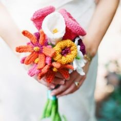 A Hand knitted bouquet