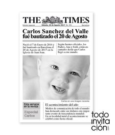 "INVITACIÓN ""NEWSPAPER BABY"""