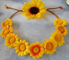 Flower Crown Headband with Sunflowers by PrettyInRoses on Etsy, $8.00