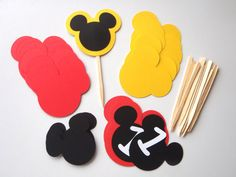 DIY Kit Set of 12 Mickey Mouse Party Cupcake by FeistyFarmersWife, $6.00