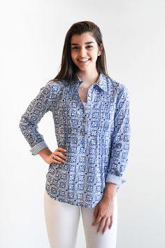 The Hadley Cotton Print Top - Liza Byrd Boutique