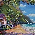 Blue Cottage On The Beach Painting by John Clark