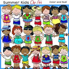 Summer Kids Clip Art set features:20 images in color.10 images in black & white.for a total of 30 files in png.All images are 300dpi (png files).This clipart license allows for personal, educational, and commercial small business use. If using commercially, or in a freebie, credit to my store by a link is required and appreciated.