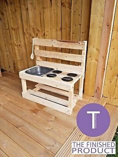 Other Outdoor Toys/ Activities Toys & Games Outdoor Play Kitchen, Diy Mud Kitchen, Mud Kitchen For Kids, Wooden Kitchen, Kitchen Dishes, Backyard Play, Backyard For Kids, Garden Kids, Pallet Kids
