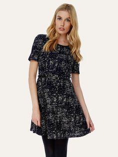 Paint Fleck Print Dress Navy | Yumi