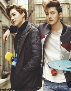 Kai + Sehun. I LOVE this picture. And Sehun's hair is this shit.