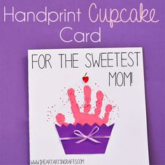 Some of the best gifts for Mother's Day are the special keepsakes that our kids make us. Our favorite keepsake crafts are handprint & footprint art, it's so fun to see how much they grow from year to year. And our latest handprint art includes this super sweet cupcake card perfect for Mother's Day or … #giftsformothers
