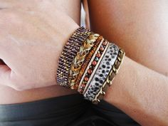 Brazilian-Hipanema style bracelet in shades of brown, multi strand cuff with magnetized clasp, Boho style by What2WearByNana on Etsy