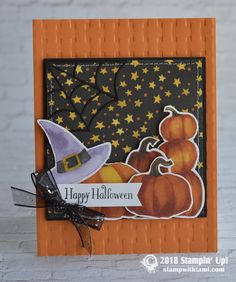 CARD: Happy Halloween from the Cauldron Bubble Stamp Set (Stamp With Tami) Fröhliches Halloween, Halloween Treat Bags, Homemade Halloween, Halloween Projects, 3d Cards, Stampin Up Cards, Card Making Inspiration, Making Ideas, Fall Cards