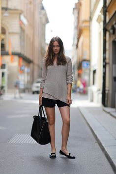 Helmut Lang knit, T by AW tank, Acne shorts, Celine bag & Miu Miu loafers