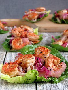 Shrimp Lettuce Wraps With Pineapple Coleslaw