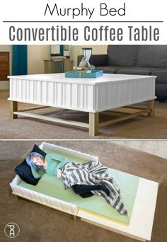 How to make a folding murphy bed style convertible coffee table. The free building plans are easy to to create hidden storage and an extra guest bed. Convertible Coffee Table, Convertible Furniture, Murphy Bed Ikea, Murphy Bed Plans, Murphy Table, Home Design, Furniture Plans, Home Furniture, Furniture Removal