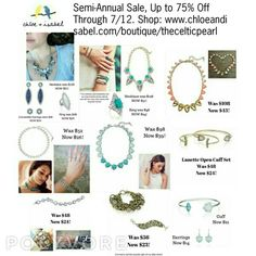 Some more great pieces on sale now during our Semi-Annual Sale. Again, pieces are selling out fast, so get them while you can. Sale ends 7/12  Shop: www.chloeandisabel.com/boutique/thecelticpearl   #SemiAnnual #Sale #Summer #lowprices #new #save #deal #discount #jewelry #fashion #accessories #style #shopping #shop #trendy #trending #trend #boutique #buy #online #chloeandisabel #thecelticpearl