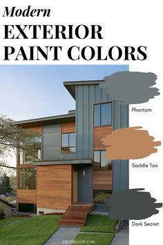 Modern Exterior Paint Colors Paint your home with confidence using this modern paint color guide! 9 different modern exterior paint color combinations that will look good on any home. Pick your favorite one! Exterior Paint Color Combinations, House Paint Color Combination, Exterior Paint Colors For House, Color Schemes, Outdoor House Colors, Cabin Exterior Colors, Outside House Paint Colors, Outdoor Paint Colors, Best Exterior Paint