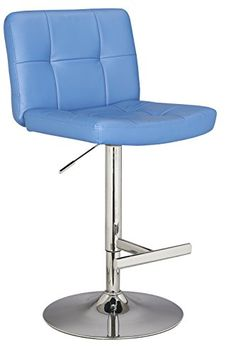 Ultimate Accent Cushion Seat and Back Adjustable Height Bar Stool Blue >>> You can find more details by visiting the image link.