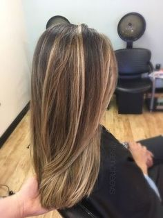 Dark and light brown hair types / sandy white platinum blonde highlights for dark hair types / long hair long layers