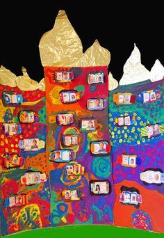 Verschieden Unterrichtsbeispiele zu Friedensreich Hundertwasser im Kunstunterricht für 1.-6. Klassen,