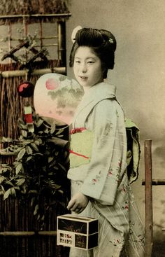 A young Geisha with a Hotaru/Firefly cage, ca. 1900