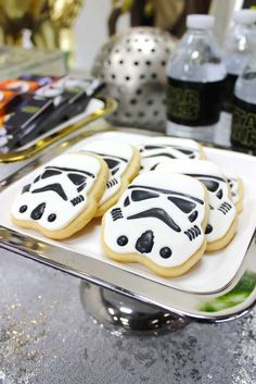 Storm trooper cookies at a Star Wars birthday party! See more party ideas at CatchMyParty.com!
