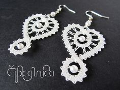 White Heart Shaped Lace Earrings by A5lace on Etsy, €15.00